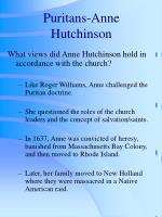 puritans anne hutchinson