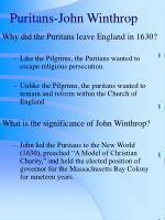 puritans john winthrop