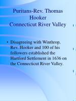 puritans rev thomas hooker connecticut river valley
