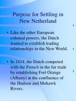 purpose for settling in new netherland