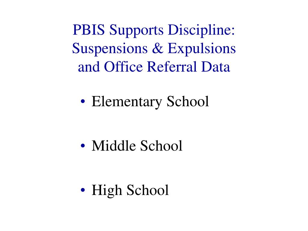 PBIS Supports Discipline: