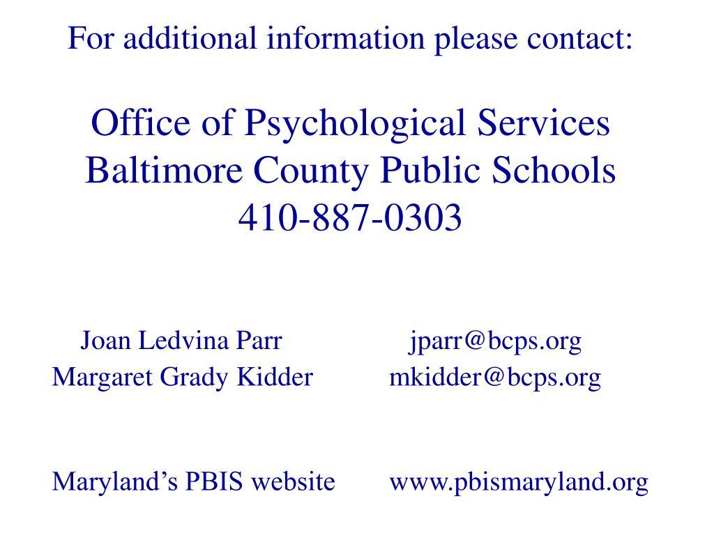Joan Ledvina Parr    jparr@bcps.org