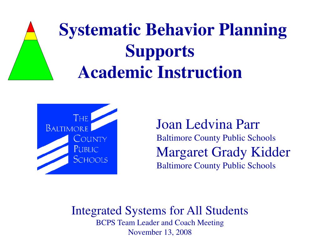 Systematic Behavior Planning Supports