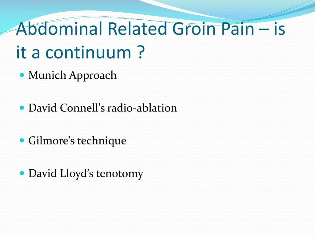 Abdominal Related Groin Pain – is it a continuum ?