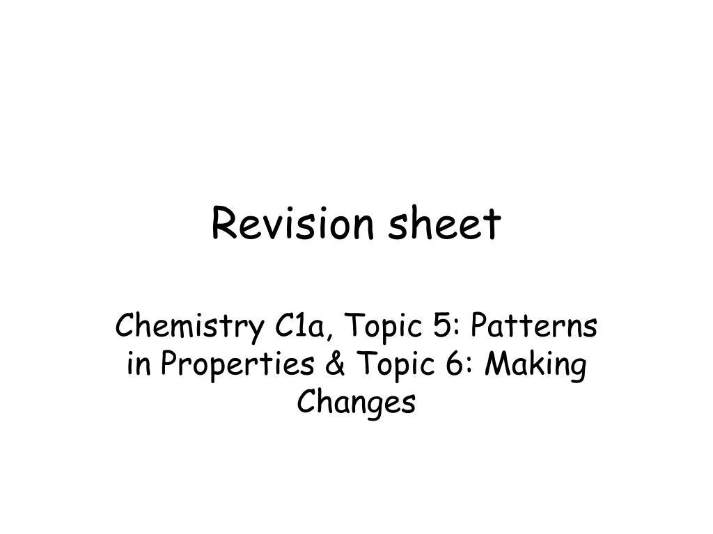 revision sheet l.