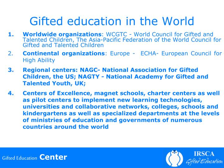 Gifted education in the World
