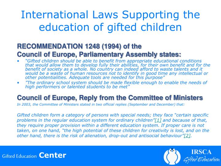 International Laws Supporting the education of gifted children