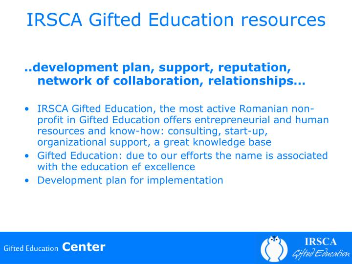 IRSCA Gifted Education resources