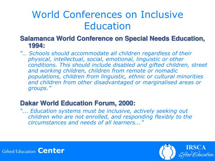 World Conferences on Inclusive Education