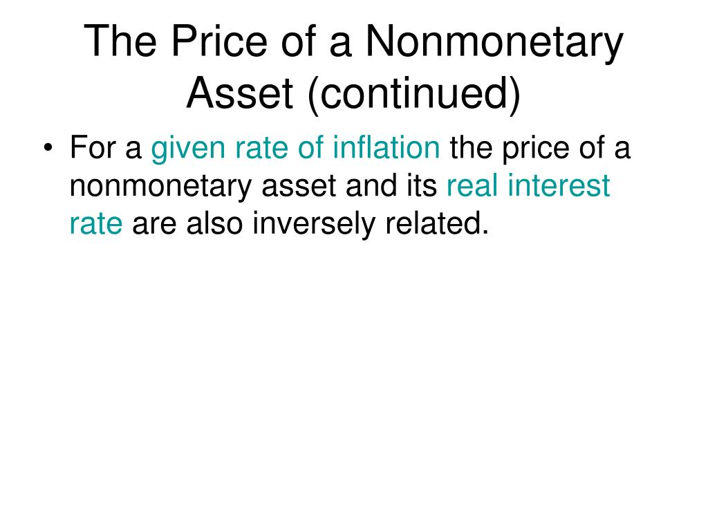 The Price of a Nonmonetary Asset (continued)