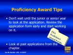 proficiency award tips