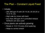 the plan constant liquid feed