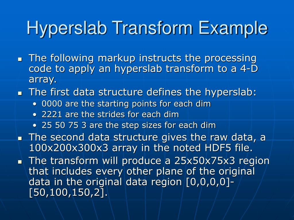 Hyperslab Transform Example