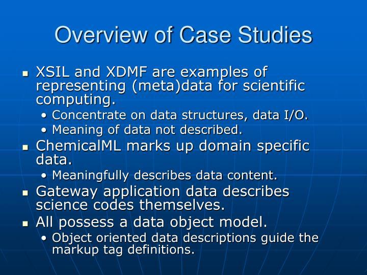 Overview of case studies