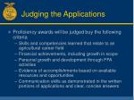 judging the applications
