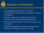 selection of recipients
