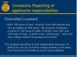 unrealistic reporting of applicants responsibilities