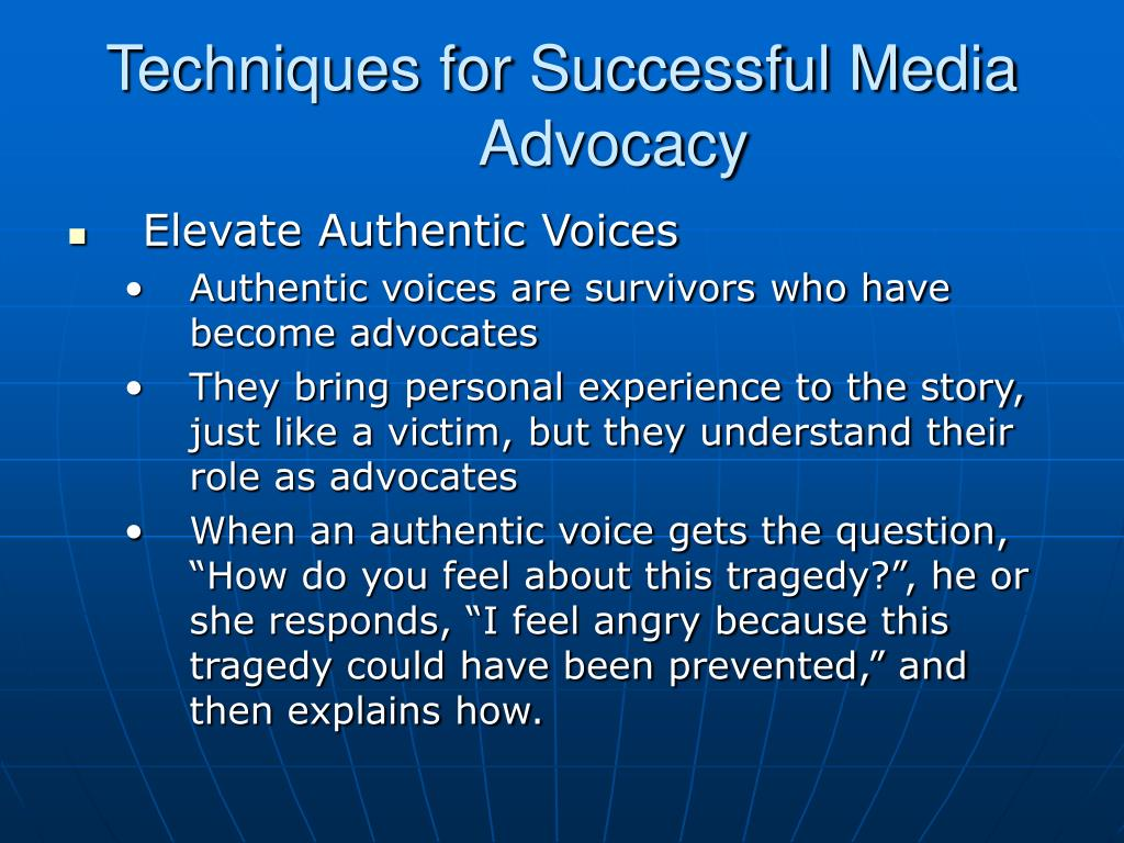 Techniques for Successful Media Advocacy