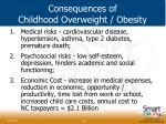 consequences of childhood overweight obesity