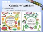 calendar of activities29