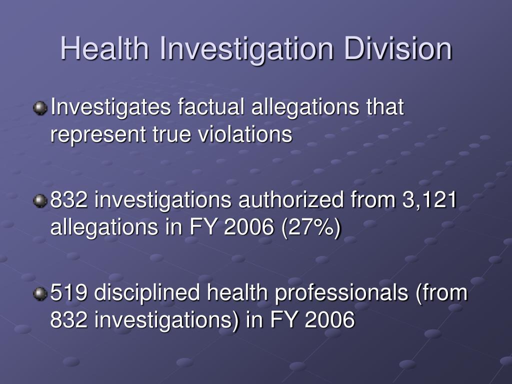 Health Investigation Division