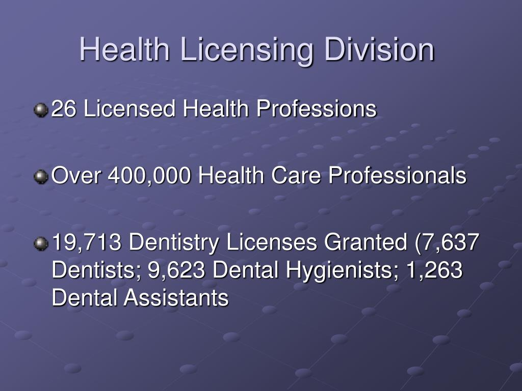 Health Licensing Division