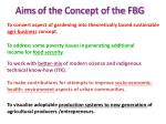 aims of the concept of the fbg