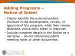 adding programs notice of intent19