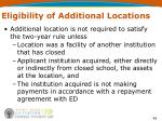 eligibility of additional locations