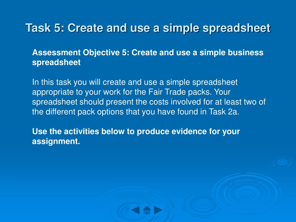 Task 5: Create and use a simple spreadsheet