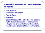 additional features of labor markets in sports