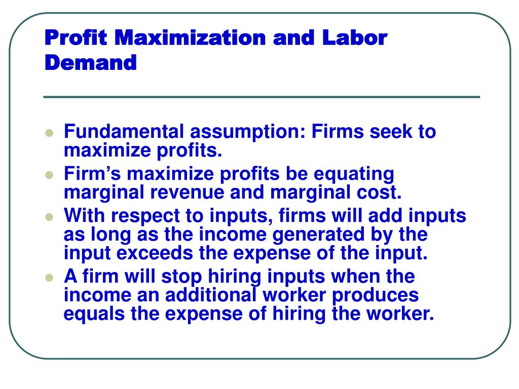 profit maximization and labor demand l.