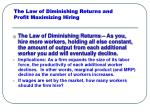the law of diminishing returns and profit maximizing hiring