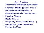sport values the dominant american sport creed