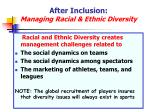after inclusion managing racial ethnic diversity