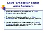 sport participation among asian americans