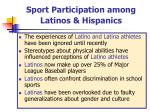 sport participation among latinos hispanics