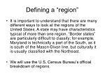 defining a region