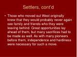 settlers cont d