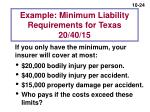 example minimum liability requirements for texas 20 40 15