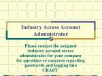 industry access account administrator