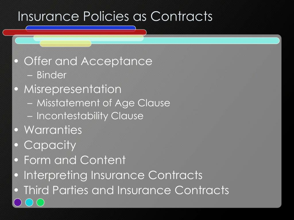 Insurance Policies as Contracts