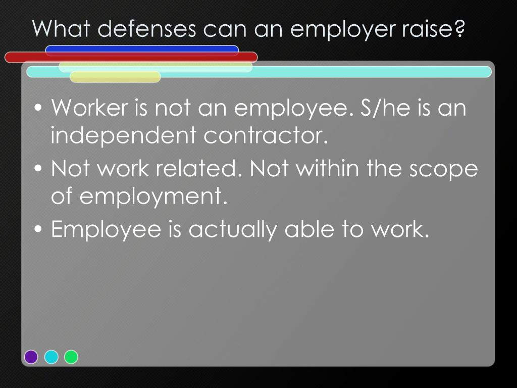 What defenses can an employer raise?