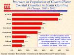 increase in population of coastal near coastal counties in south carolina change 1990 2005