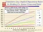 cumulative avg implied impairment rates by holding co senior unsecured debt