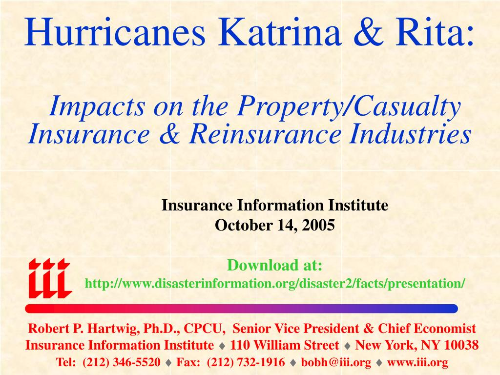 hurricanes katrina rita impacts on the property casualty insurance reinsurance industries l.