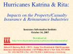 hurricanes katrina rita impacts on the property casualty insurance reinsurance industries