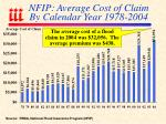 nfip average cost of claim by calendar year 1978 2004