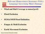 relevant homeowners insurance policy language governing water damage