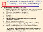 relevant homeowners insurance policy language governing water damage91